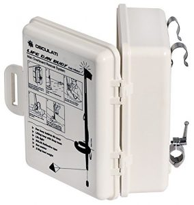 Scatola rigida che contiene il life dan buoy e lo rilascia a contatto con l'acqua