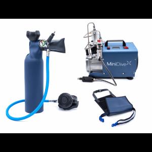 bombolino e respiratore subacqueo con compressore